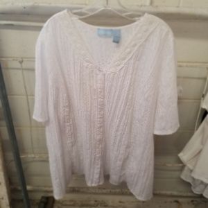 Liz & Me 4X  30/32W White Short Sleeve Blouse